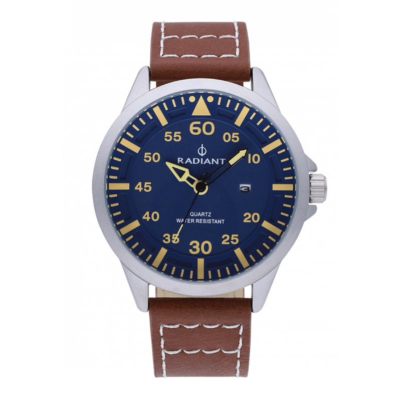 OAKWELL 46MM BLUE DIAL BROWN LEATHER STR