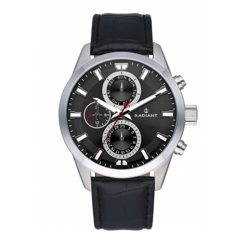GUARDIAN ALL SS 44MM BLACK DIAL & LEAT.