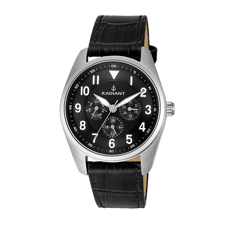 BROOKLYN ALL SS 42MM BLACK DIAL&LEAT. ST